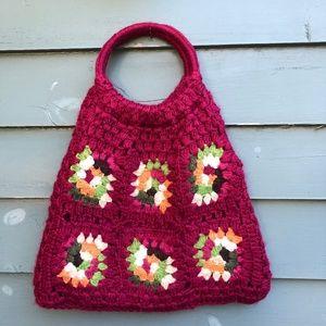 Granny Square Purse Hobo Shoulder Bag tote Pink